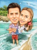Love Caricature Couple on the Beach