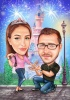 Magical Engagement Proposal Caricature
