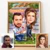 Marriage Proposal Caricature with Diamond Ring