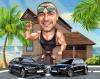 Muscle Man Caricature in a Beach Resort