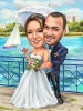Ocean Wedding Caricature for Bride and Groom