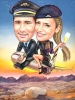 Pilot and Flight Attendant Caricature on a Plane