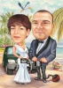 Pregnant Woman Caricature Wedding with Car on the Beach