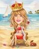 Queen Caricature on a Beach