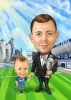 Soccer Coach Caricature with His Son