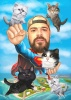 Superman Caricature with Cats