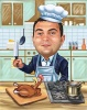 "Thanksgiving Caricature ""Chef Cooking Turkey"""