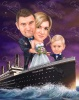 Titanic Caricature for a Couple with Kid