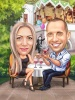 Wedding Proposal Caricature in a Restaurant