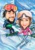 Winter Sport Caricature Ski and Snowboard
