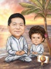 Yoga Caricature Master and Student
